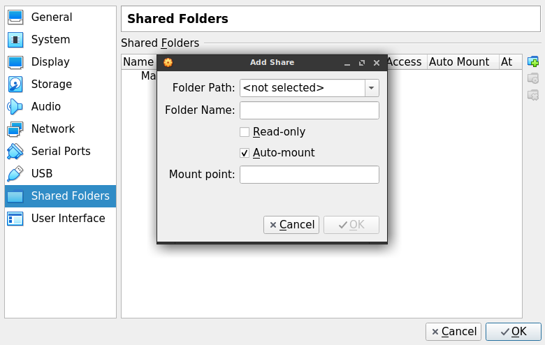 Shared folder settings